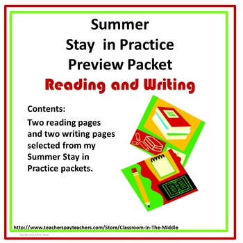Summer Stay in Practice Preview Packet - Reading and Writing