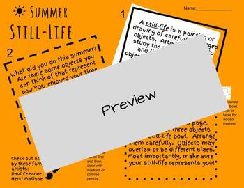Back to School / Personal Still - Life Worksheet