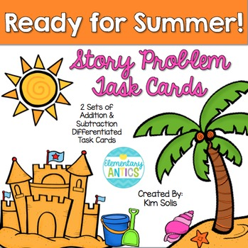 Summer Story Problem Task Cards (Addition, Subtraction, Mu