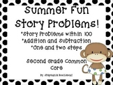 Summer Story Problems (2nd Grade, Within 100, One and Two Step, + and -)