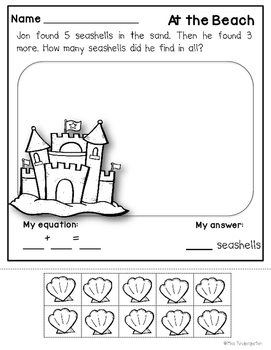 Addition and Subtraction Worksheets Summer Themed Story Problems