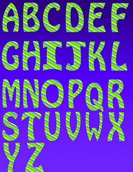 Alphabet Letters Clipart - Stripes