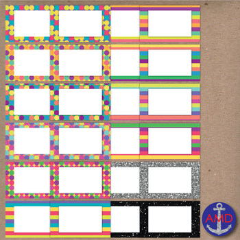 Summer Stripes, Polka Dot & Glitter Clip Art Post-its, Labels and Notecards