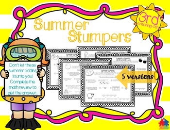 Summer Stumpers - 3rd Grade Summer Math Reviews