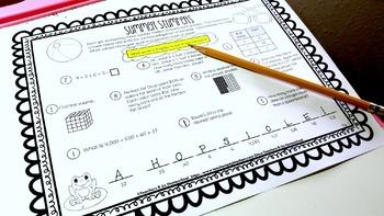 Summer Stumpers - 4th Grade Summer Math Reviews