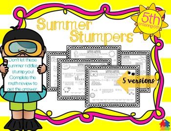 Summer Stumpers - 5th Grade Summer Math Reviews