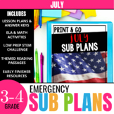 July Sub Plans for 3rd & 4th Grade: Ready-to-use lesson plans & activities