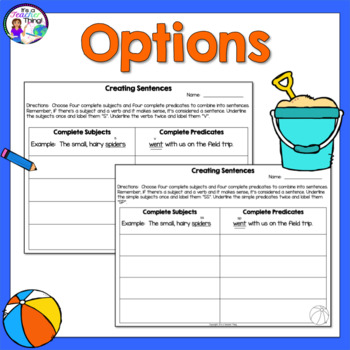 Subjects and Predicates Summer-Themed Activity