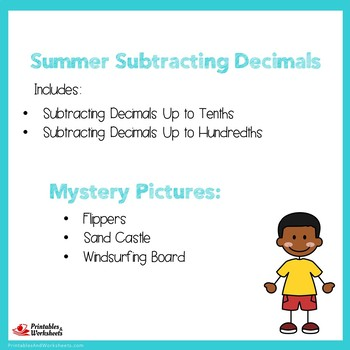 Summer Subtracting Decimals Up to Tenths, Hundredths