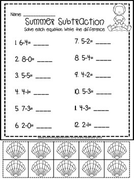 Summer Subtraction Printables and Games