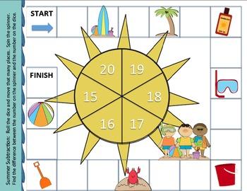 Summer Subtraction Game - SMART notebook