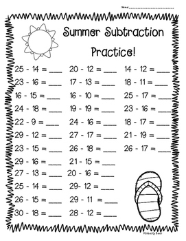 Summer Subtraction Practice! - 4 Leveled Worksheets! End of Year
