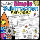Simple Summer Subtraction Worksheets Kindergarten Numbers 0-5