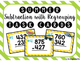 Summer Subtraction with Regrouping Task Cards