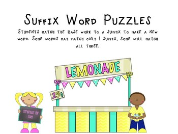 Summer Suffix Word Puzzles