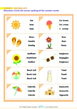 Summer - Summer Vocabulary - Grade 2