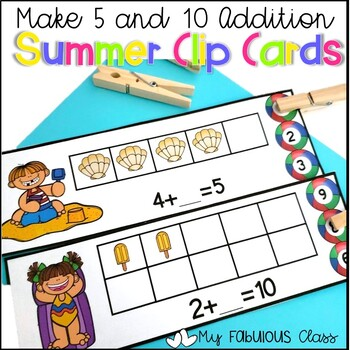 Summer Sums of 5 and 10 Clip Cards