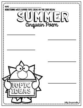 Summer Sun Cinquain Poem Craftivity and graphic organizers.