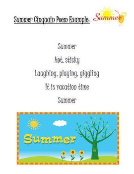 Summer & Sun Cinquain Poem Writing Activity