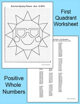 Summer Activities Sun Coordinate Graphing Ordered Pairs