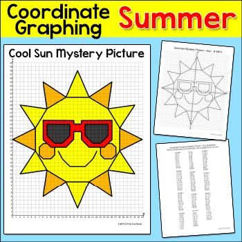 Summer Activities Sun Coordinate Graphing Ordered Pairs By Pink
