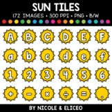 Summer Sun Letter and Number Tiles Clipart