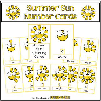 Summer Sun Number Cards