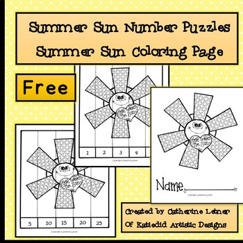 Summer Sun Number Puzzle and Coloring Page Freebie