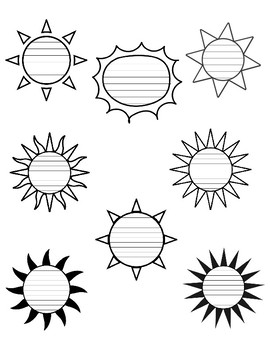 Summer sun writing paper sun template with lines writing paper sun maxwellsz