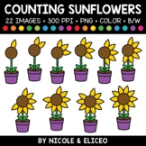 Summer Sunflower Counting Clipart
