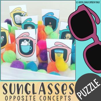 Summer Sunglasses Basic Concepts, Opposite, and Antonym Sensory Bin Puzzles