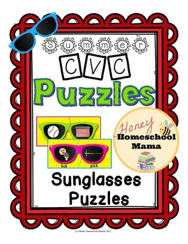 Summer Sunglasses Rhyming Puzzles - 26 Hot Puzzles for Fun