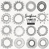 Sunshine Circle Frame and Labels Black Line Art, Round Circle Borders
