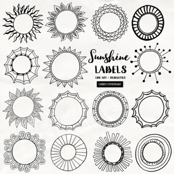 Sunshine Circle Frame and Labels Black Line Art, Round Circle Borders