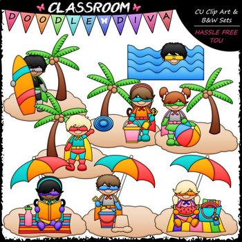 Summer Superhero Kids - Clip Art & B&W Set