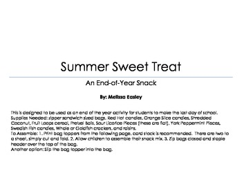 End of Year Snack Mix Activity