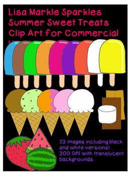 Summer Sweet Treats Clip Art Set for Commercial Use 300 DPI