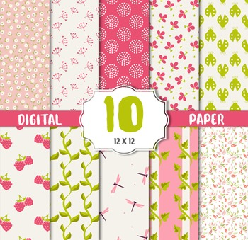 Summer Sweets Digital Papers, Birthday Party Paper, Flower Graphics