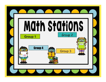 Summer Swim Themed Math Stations automated powerpoint for
