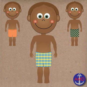 Summer Swimming Kids in Bath Suits Clip Art with Personal & Commercial Use