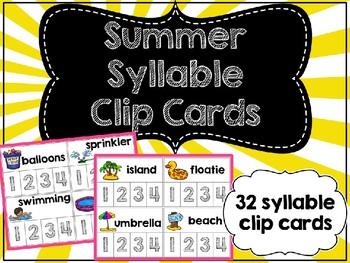 Summer Syllable Clip Cards