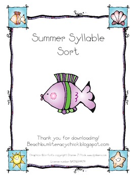 Summer Syllable Sort - Common Core