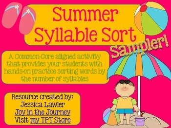 Summer Syllable Sort FREE SAMPLER