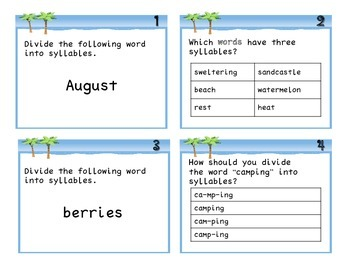 Summer Syllable Task Cards