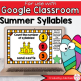 Summer Syllables Game for Google Classroom Distance Learning