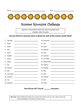 Summer Synonyms Challenge - Thesaurus / Center / Sponge / Sub / Gifted