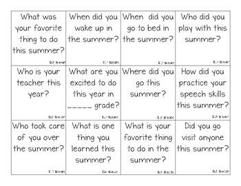 Summer Synopsis: An Start of School Ice Breaking Activity