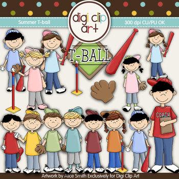 Summer T-ball -  Digi Clip Art/Digital Stamps - CU Clip Art