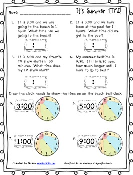 Summer TIME Skill Sheet