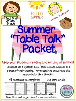 "Summer ""Table Talk"" for 2nd, 3rd, or 4th Grade Fun Way to Keep Students Writing!"